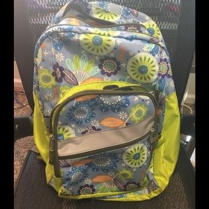 L.L. Bean Periwinkle and Lime Floral Backpack